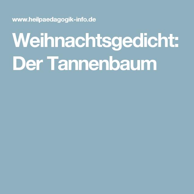 Tannenbaum Gedicht.Pinterest