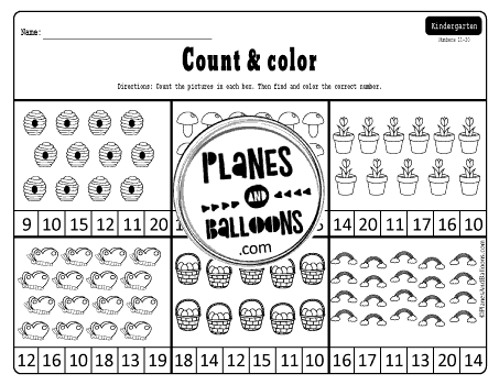 Spring Count And Color Numbers 1 20 Spring Math Worksheets Spring Math Spring Worksheets Kindergarten