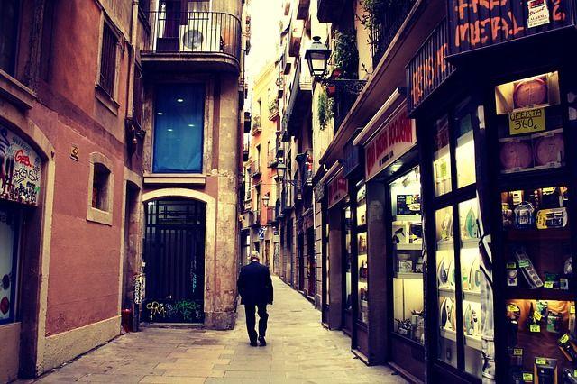通り, ストア, ショップ, 建物, アパートメント, 市, 町, 古い, 男, 徒歩