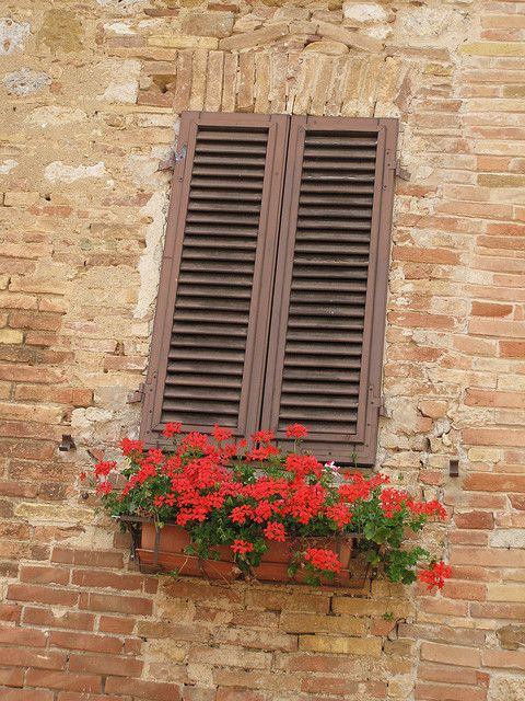 Red Flowers In Window Box On Brick Wall San Gimignano Italy