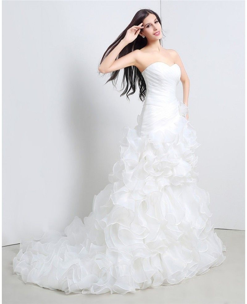 Custom Sweetheart Formal Organza Wedding Dress With Ruffles For ...