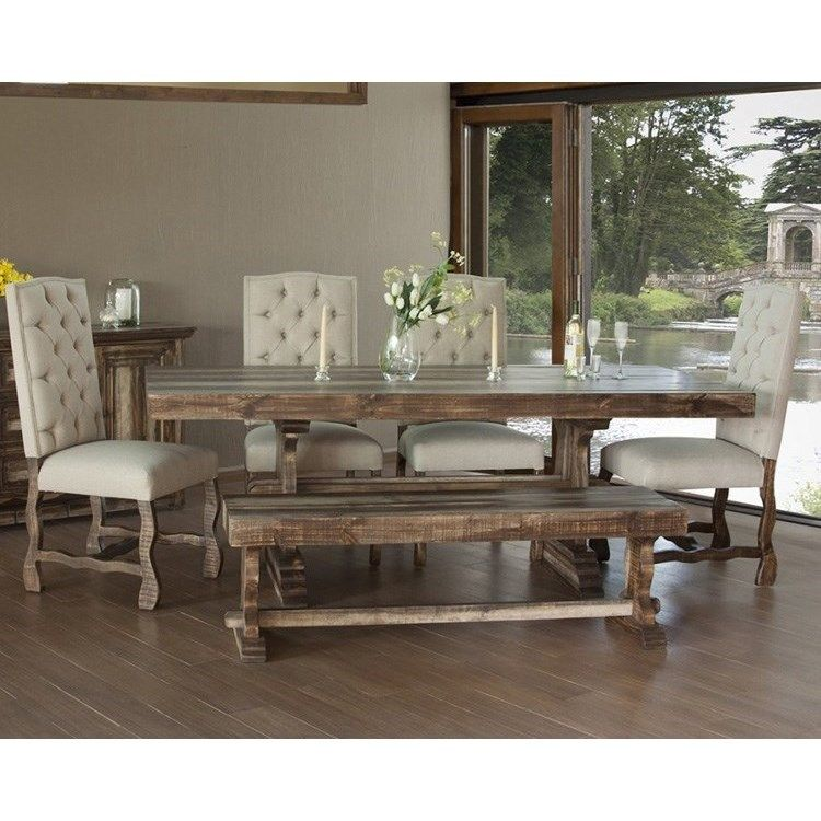 Marquez Dining Set With Bench And Upholstered Chairs By