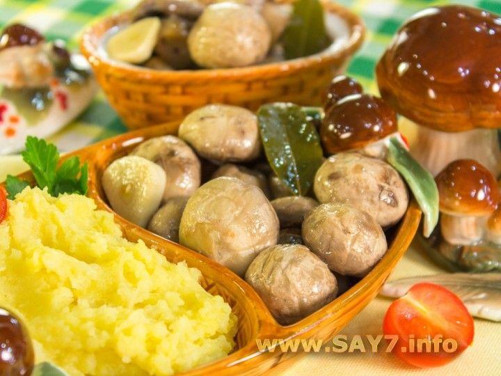 Маринованные шампиньоны | Рецепт | Идеи для блюд, Еда