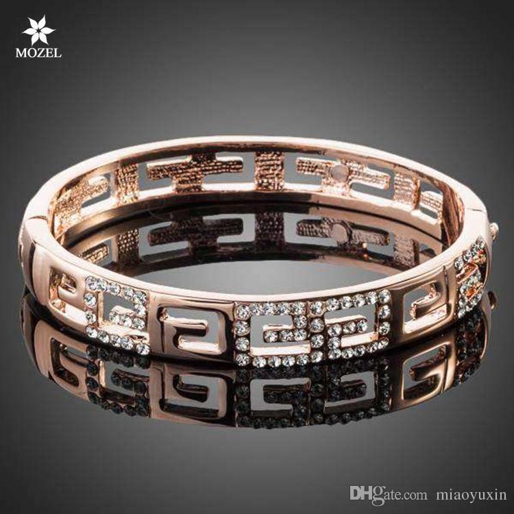 Wholesale MOZEL Fashion Jewelry Swarovski Elements Rose Gold Plated G Style Rhinestones Paved Bangle Bracelet TB0015 Women Bangles Bracelet Crystal Bangle Online with $16.3/Piece on Miaoyuxin's Store   DHgate.com