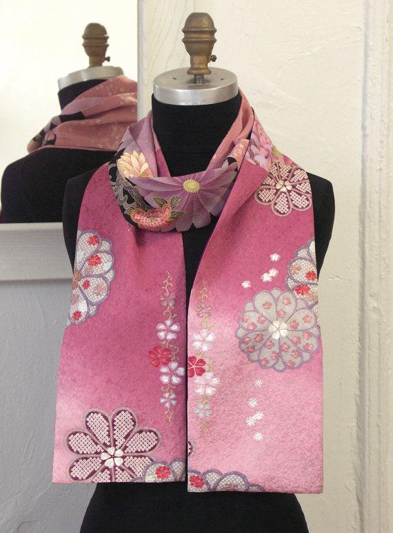Amazing Japanese Vintage Kimono versatile silk scarf by Wabiske