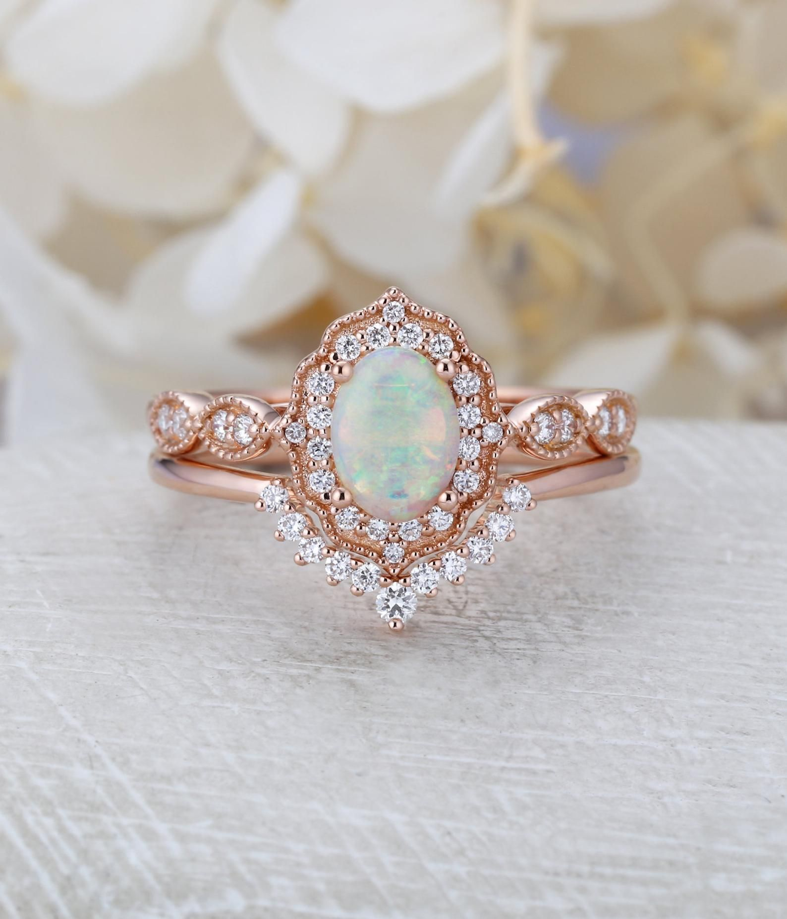 Opal Engagement Ring Set Rose Gold Halo Diamond Vintage Oval Etsy In 2020 Engagement Rings Opal Rose Engagement Ring Rose Gold Engagement Ring