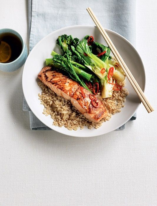 Teriyaki Salmon With Stir-Fried Greens #teriyakisalmon
