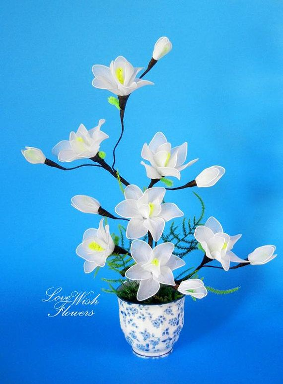Beautifully artificial white Magnolia flowers white high quality ...