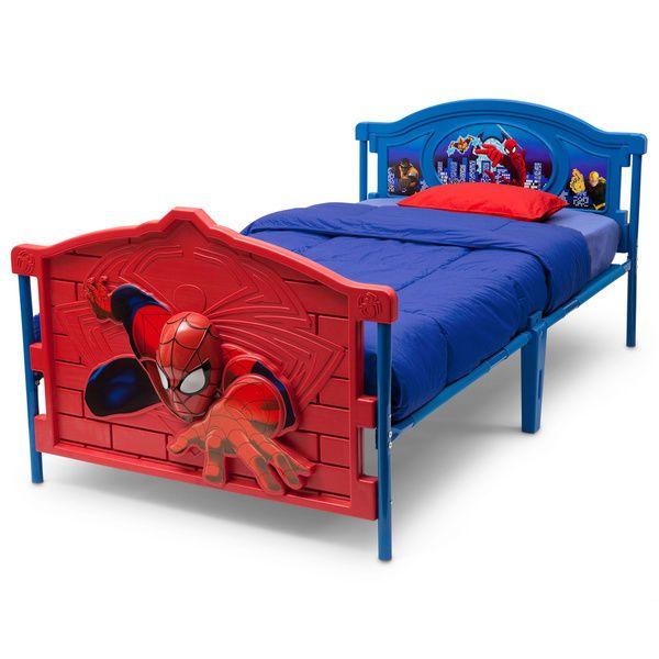 Boys 3D Spiderman Twin Bed Frame Kids Girls Bedroom Furniture ...