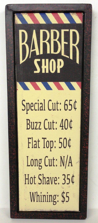 BARBER SHOP Tin Wall Decor Sign Pole Prices Beauty Stylist Salon ...