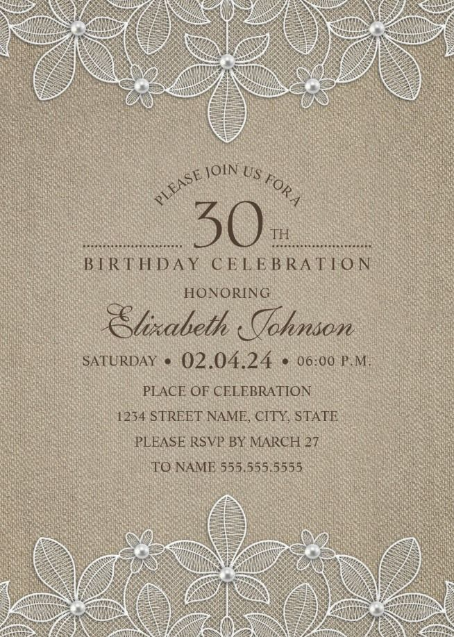 Lace And Pearls Country Burlap 30th Birthday Invitations