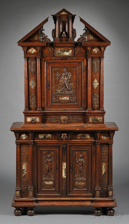 baroque style carved oak and marble inlaid cabinet antique furniture pinterest mobilier. Black Bedroom Furniture Sets. Home Design Ideas