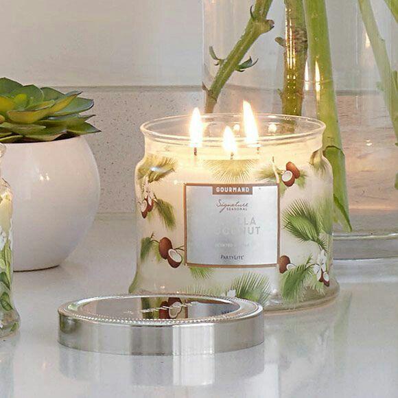 pot bougie 3 m ches vanille coco partylite bougie et accessoires pinterest bougies. Black Bedroom Furniture Sets. Home Design Ideas