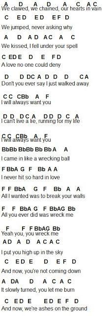 Flute Sheet Music: Wrecking Ball Part 1 | Piano Chords | Pinterest ...