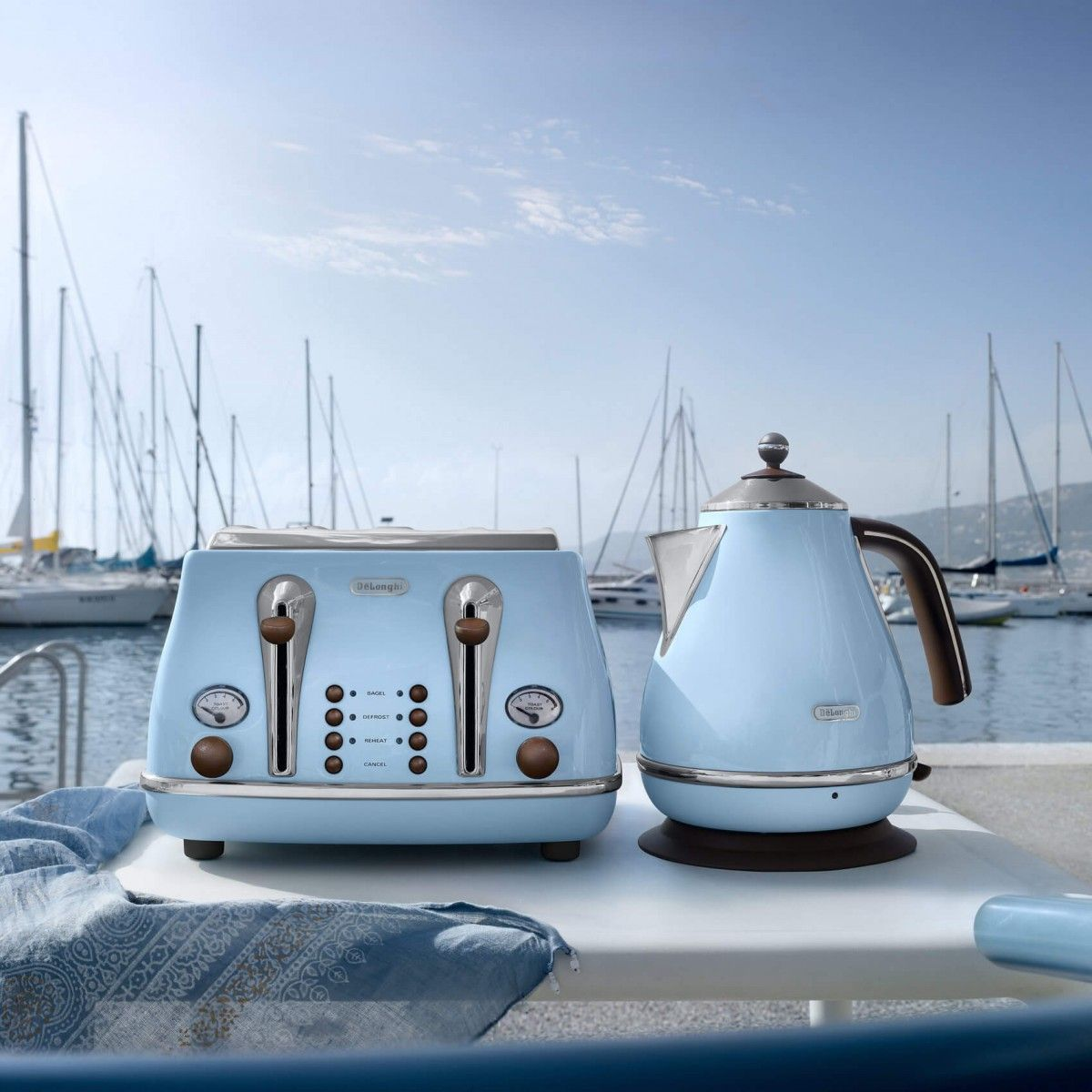 De Longhi Icona Vintage Kettle Azure Blue Kettle Toaster Kettle Toaster