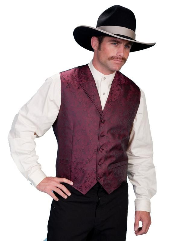 Men/'s Rangewear by Scully  Old Fashioned Western Cowboy Rodeo Shirt Burgundy