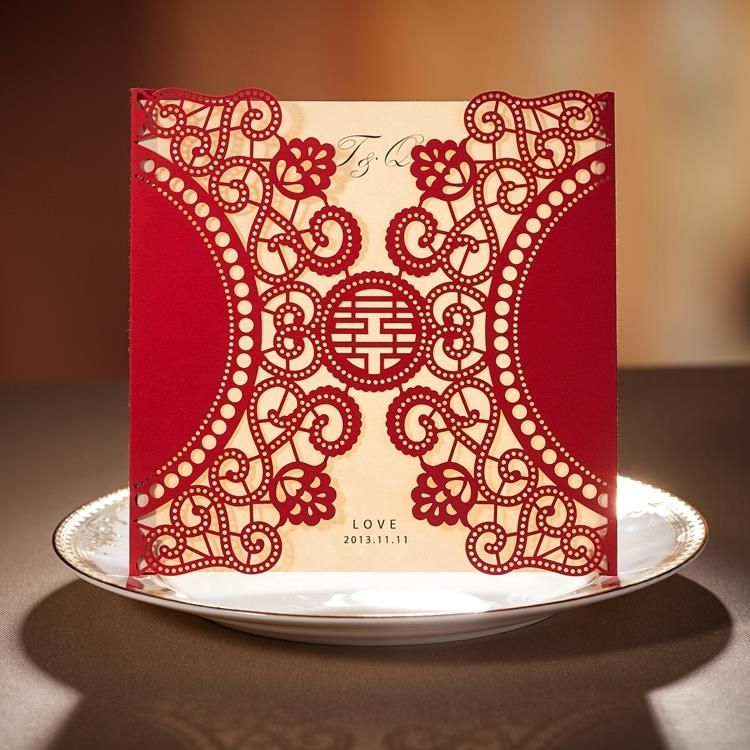 chinese new year card red laser cut free personalized customized printing wedding invitations cards set of 50 free shipping