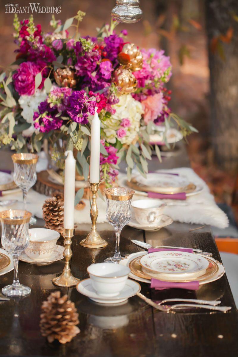 Natural wedding table setting outdoor wedding plum and gold natural wedding table setting outdoor wedding plum and gold floral centrepieces flowers junglespirit Choice Image
