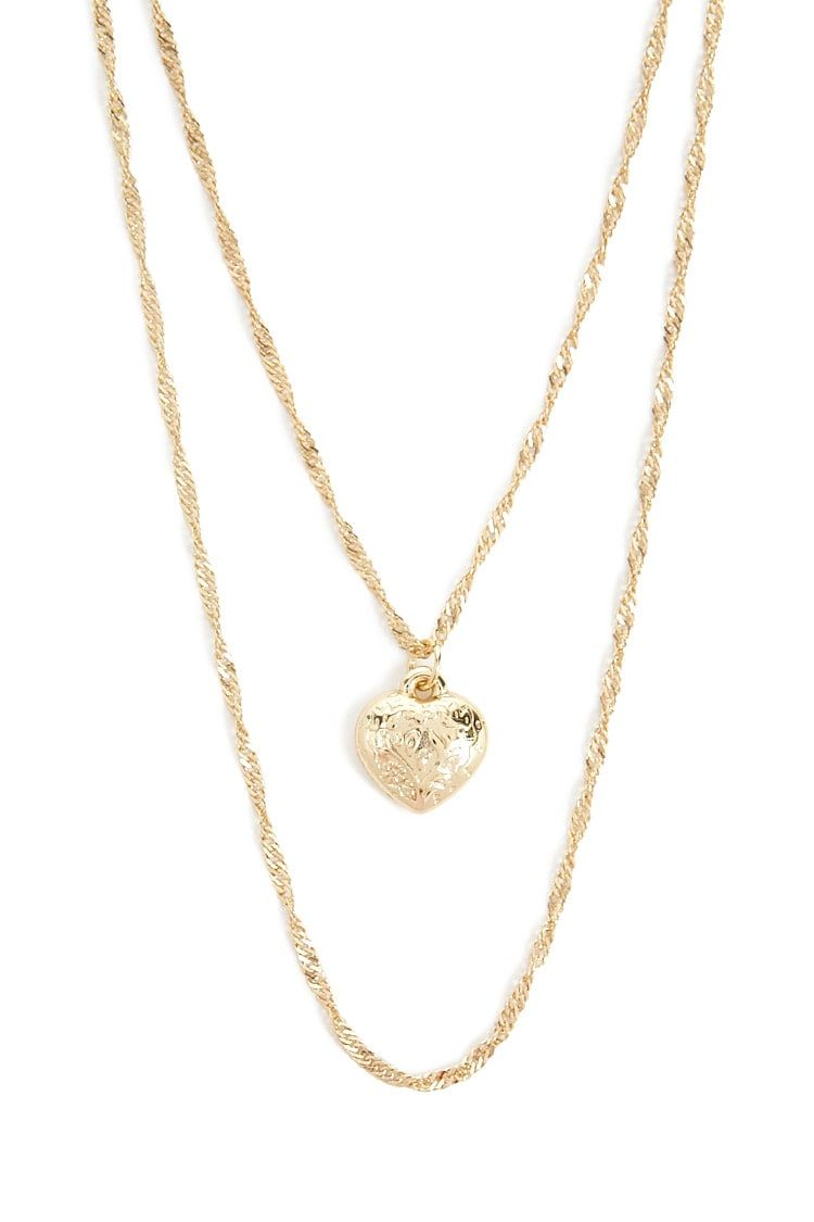 Layered heart pendant necklace jewelry pinterest heart pendant