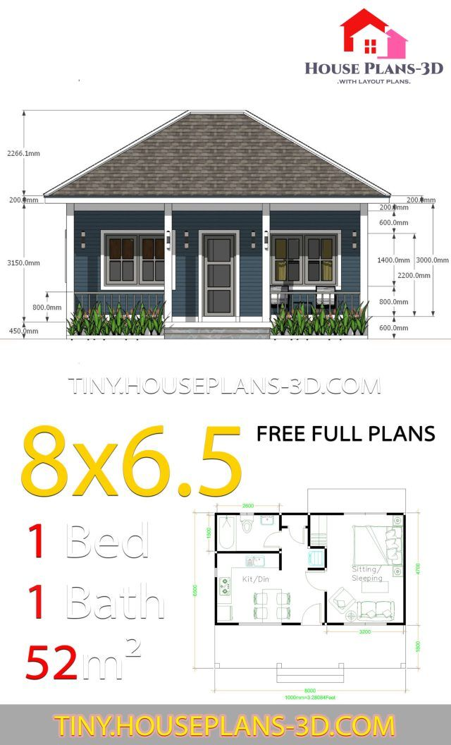 Small House Plans 8x6 5 With One Bedrooms Hip Roof Tiny House Plans Guest House Plans Small House Plans Tiny House Plans