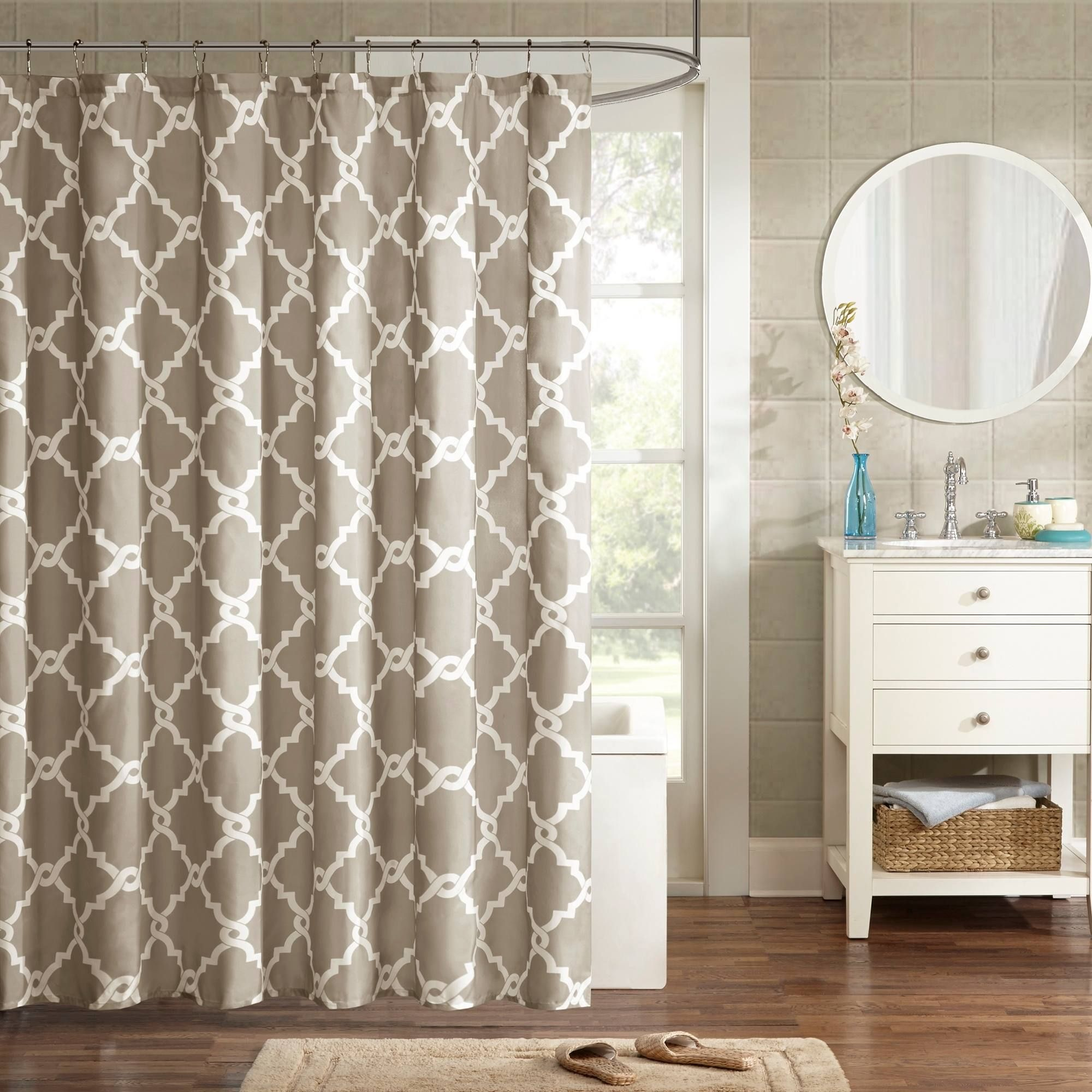Clay Alder Home Niantic Blue Chevron Shower Curtain Taupe Brown