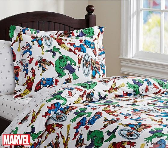Marvel™ Duvet Cover | Pottery Barn Kids | Boys Bedroom Ideas ... : marvel quilt cover - Adamdwight.com
