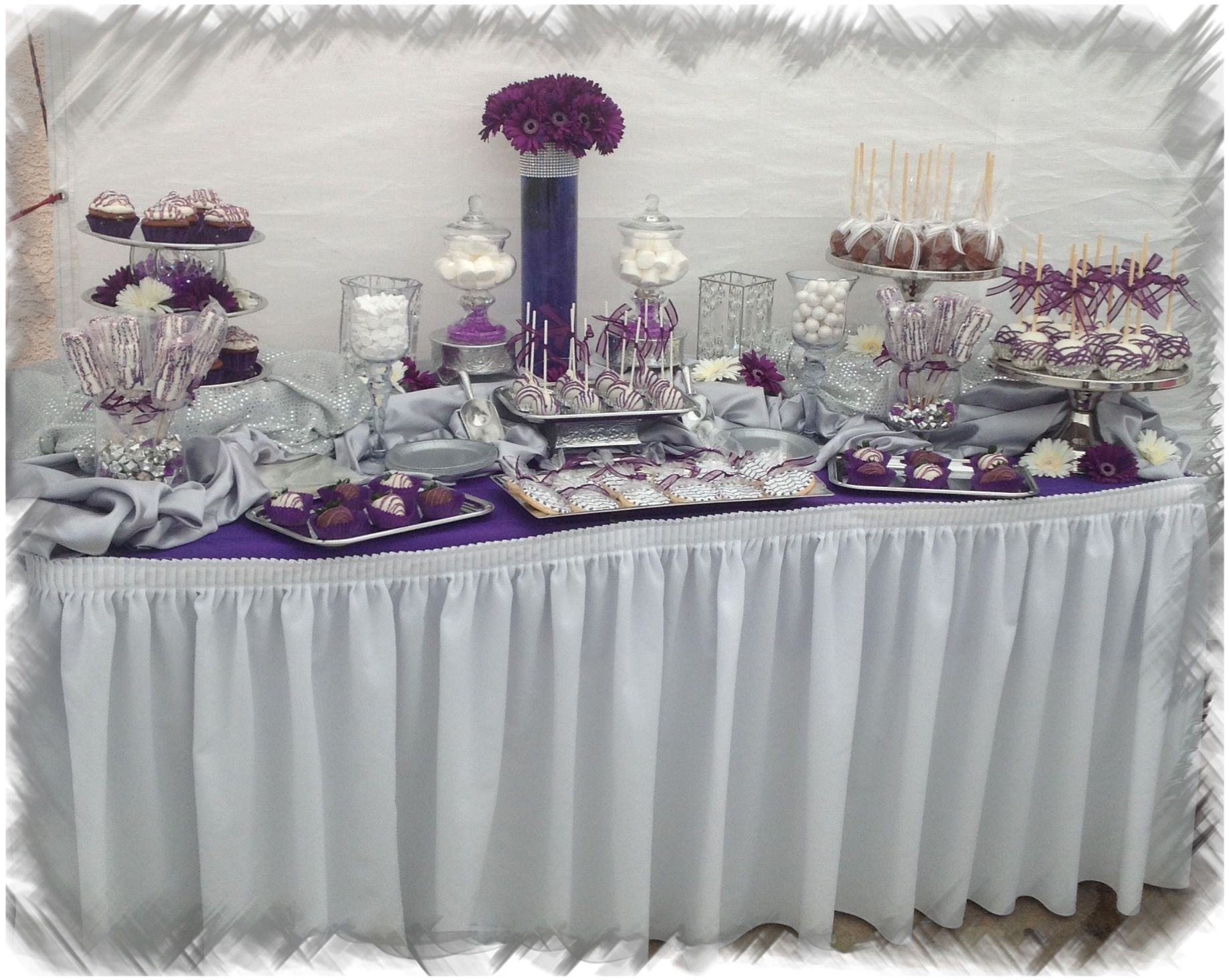 Wedding silver and purple candy table | Candy tables | Pinterest ...