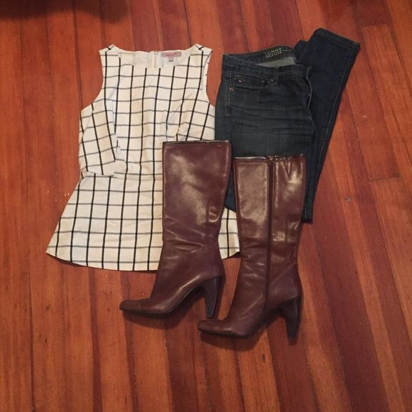 Brown Boots Lightly worn boots (5-6) times. Cute 4in heel. Some wear (image of right heel and right boot is missing decorative tag off of zipper but it is not noticeable). leather upper! Shoes Heeled Boots
