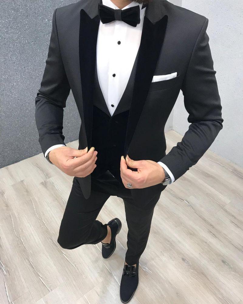 8c2b25d9568 Product  Slim-Fit Vest Smoket Color Code  Black Size  46-48-50-52-54-56 Suit  Material  98% wool