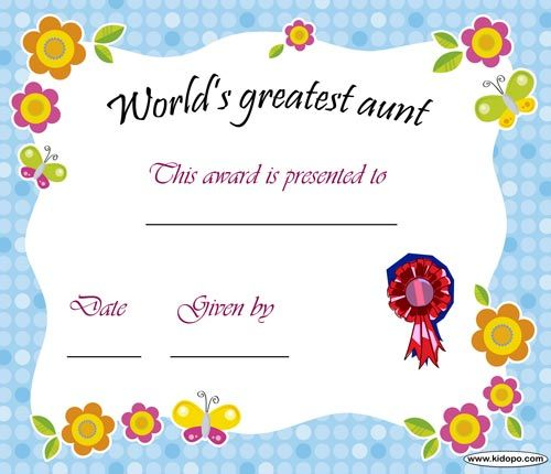 Printable Worlds Best Aunt Award Certificate Bubbas