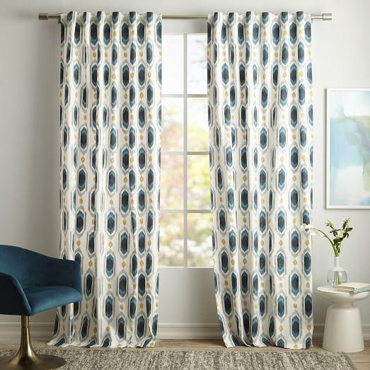 Cotton Canvas Ikat Gem Curtain Blue Teal West Elm Home Decor Curtains Living Room Contemporary House Exterior
