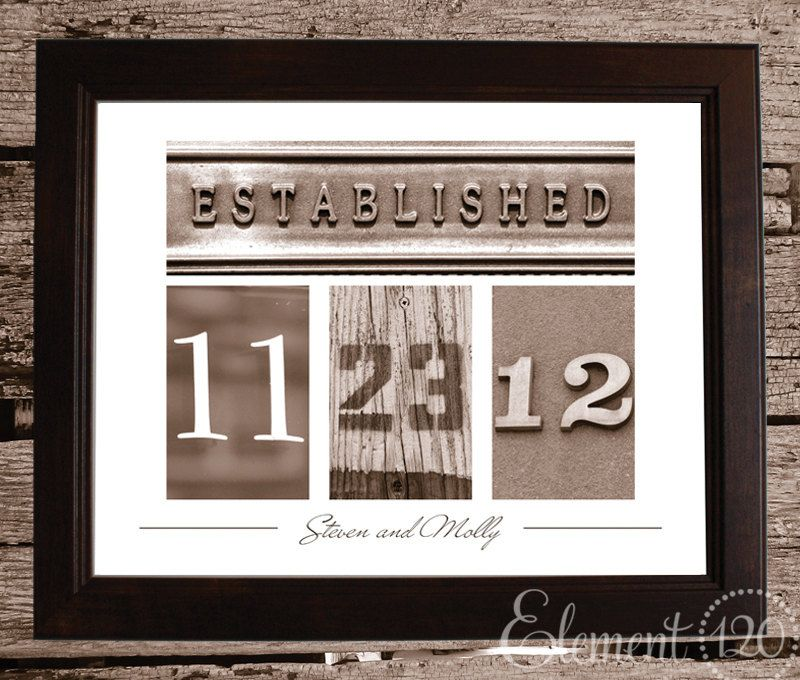 Personalized Wedding Date Frame With Number Photo Art Sepia Personalized Wedding Gifts Personalized Wedding Wedding Date Art