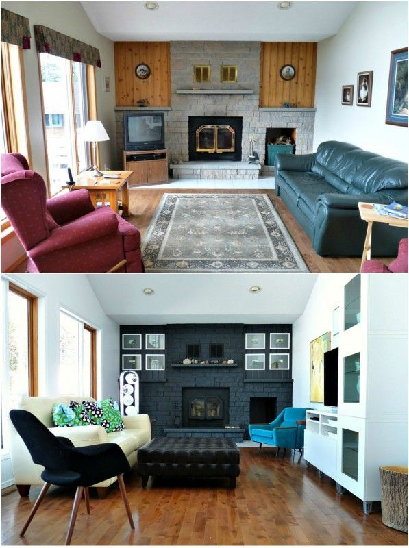 Living Room Before And After Dark Painted Fireplace
