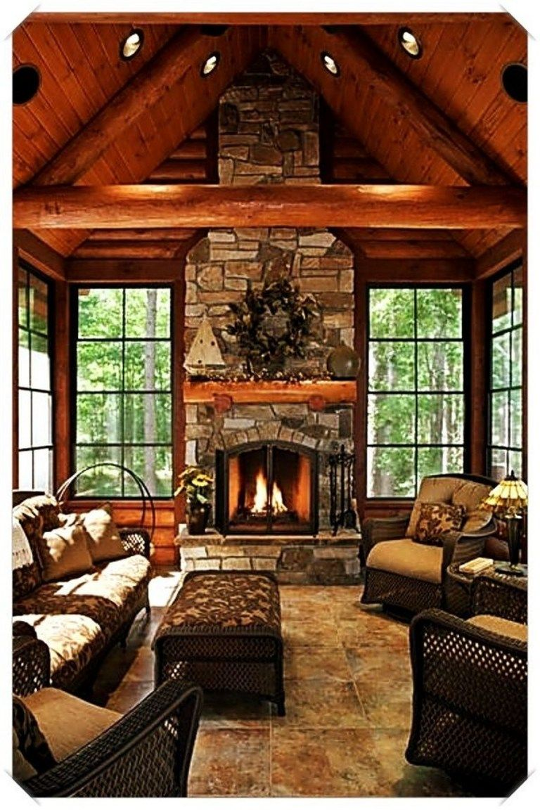 58 Stunning Rustic Living Room Design Ideas That Make You Smile 52 Fieltro Net Log Home Interiors Rustic House Home Fireplace