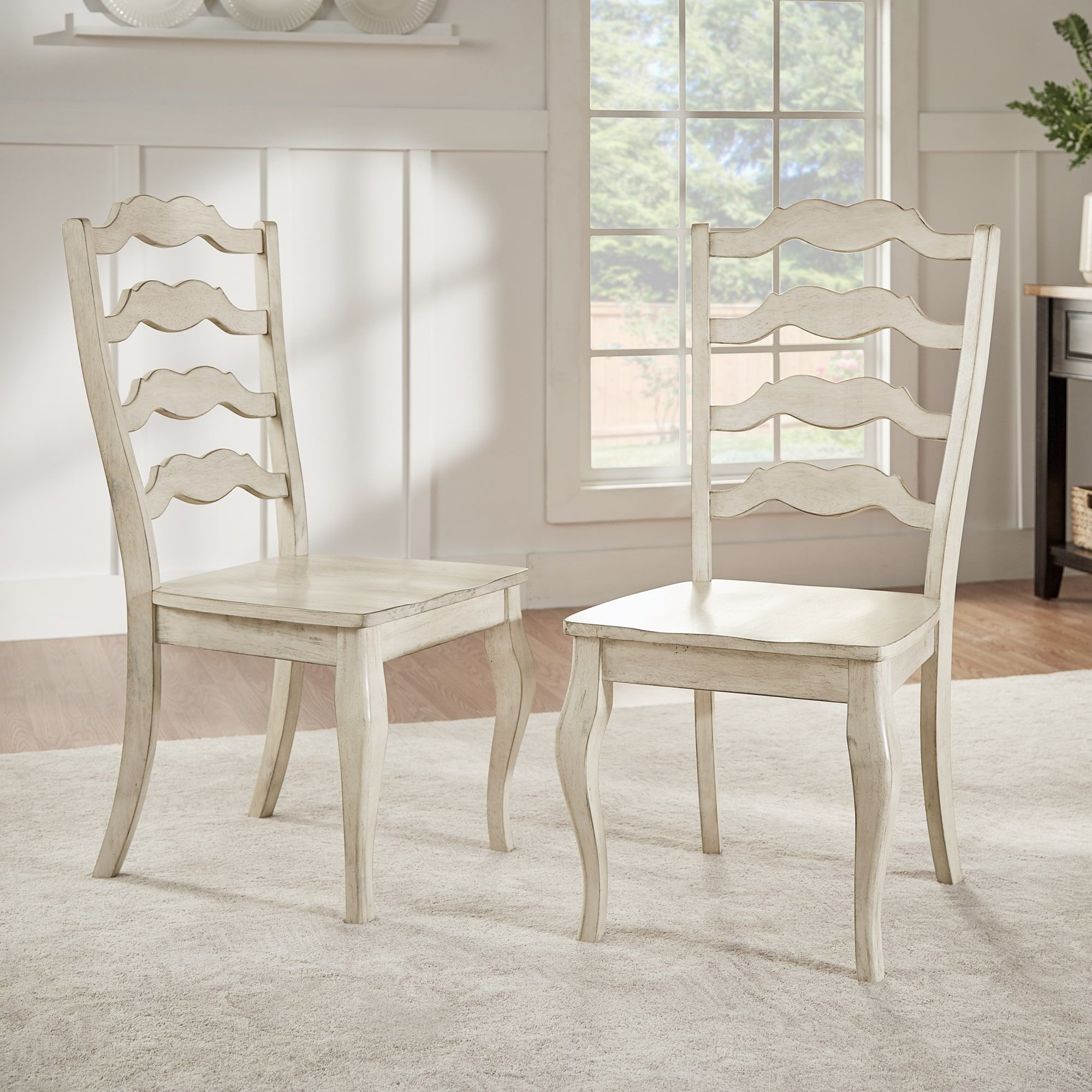 Eleanor French Ladder Back Wood Dining Chair (Set of 2) by iNSPIRE Q Classic  (Oak Finish Chairs), Tan (Rubberwood)