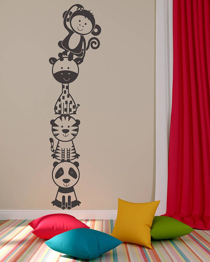 Jungle animal stacker two wall sticker decal childrens room accessories