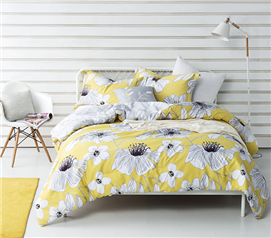 College Comforter Set Yellow Gray Flowers Dorm Extra Long Twin