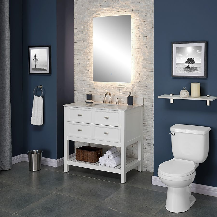 different style and tile but love idea of tile wall on vanity for bathroom id=42461