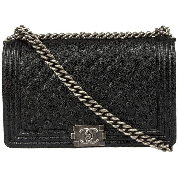 Chanel Boy Quilted Flap Bag Caviar Calfskin Leather (€4.310) ❤ liked on  Polyvore