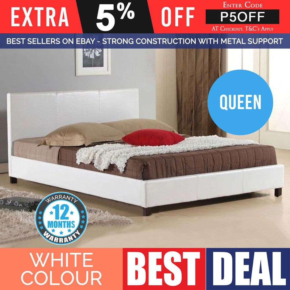 New Queen Size Bed Frame Snow White Modern PU Leather