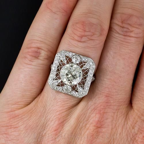 2 20 Carat Edwardian Diamond Ring 10 1 6128 Lang Antiques Edwardian Diamond Ring Vintage Engagement Rings Diamond Engagement Rings