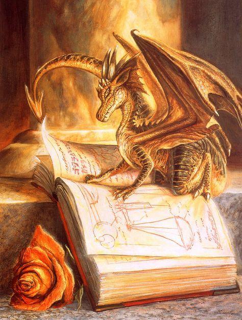 Fantasy golden dragon on a book
