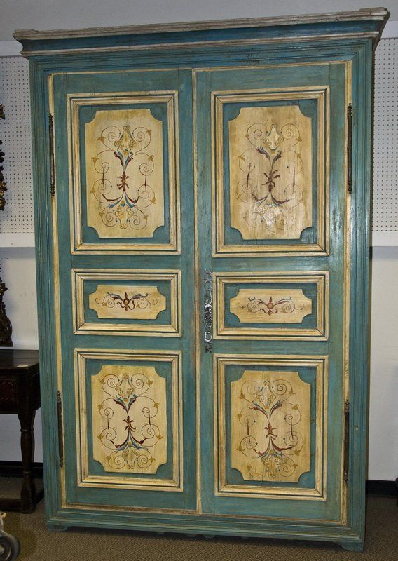 Huge Antique 18th Century Italian Painted Armoire Cabinet | EBay
