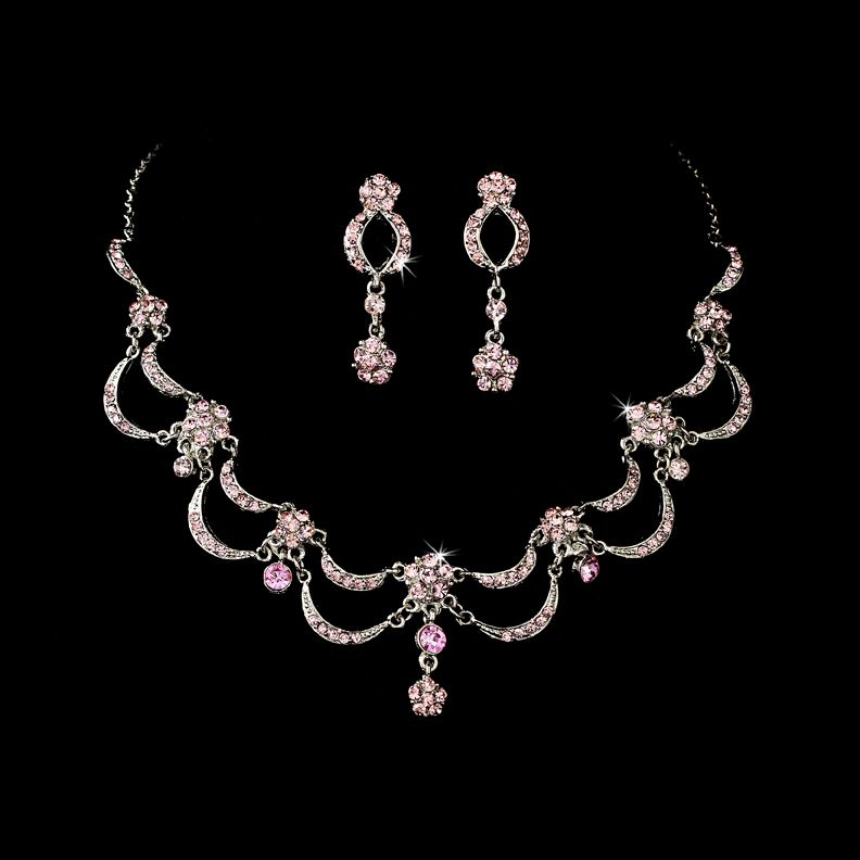 Victorian Antique Silver Pink Jewelry Set for Wedding Prom