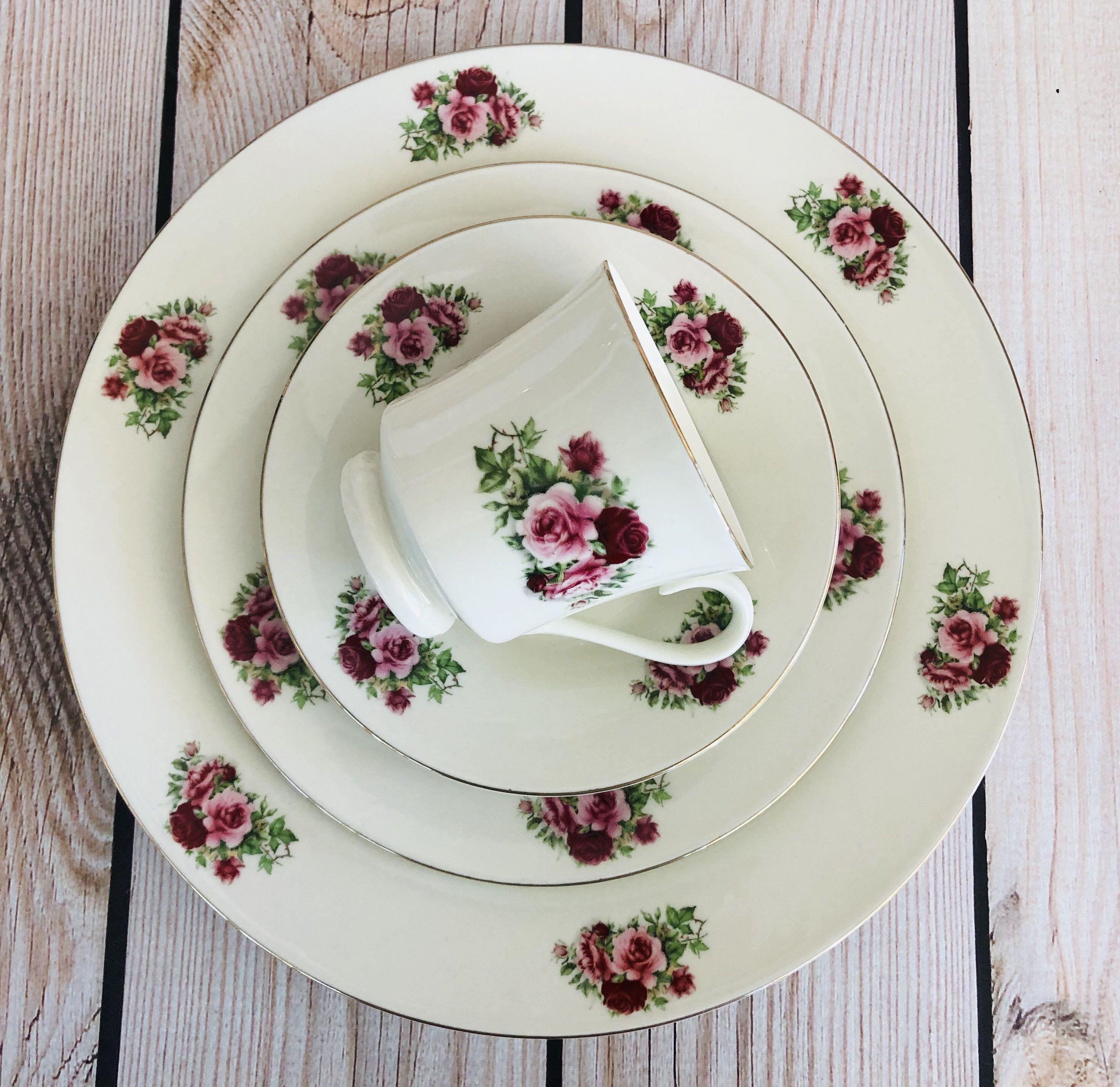 Dinnerware Set Vintage Formalities By Baum Bros Pink Roses