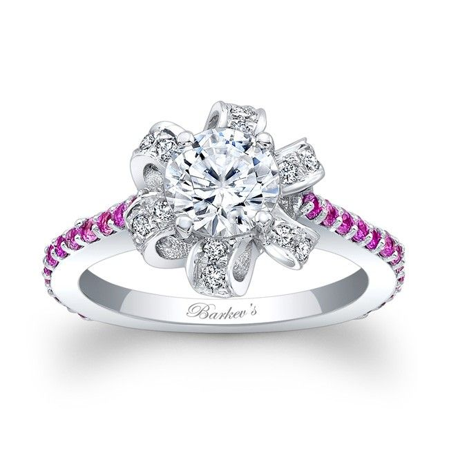Pink Sapphire Engagement Ring - 7958LPSW - This unique diamond halo engagement ring features a halo of pave set diamond ribbons encircling the round prong set diamond center.  Shared prong set pink sapphires cascade down the dainty shank for an elegant finish.