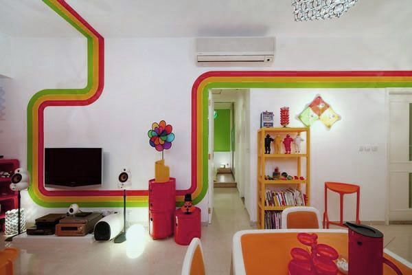 Interior Colorful Children Bedroom Decoration Ideas With Rainbow Strip Wall Painting The Great Ideas To Create Fantastic House Decoration Tips To Decorate