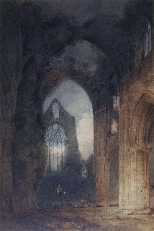 John Sell Cotman - Tintern Abbey by Moonlight