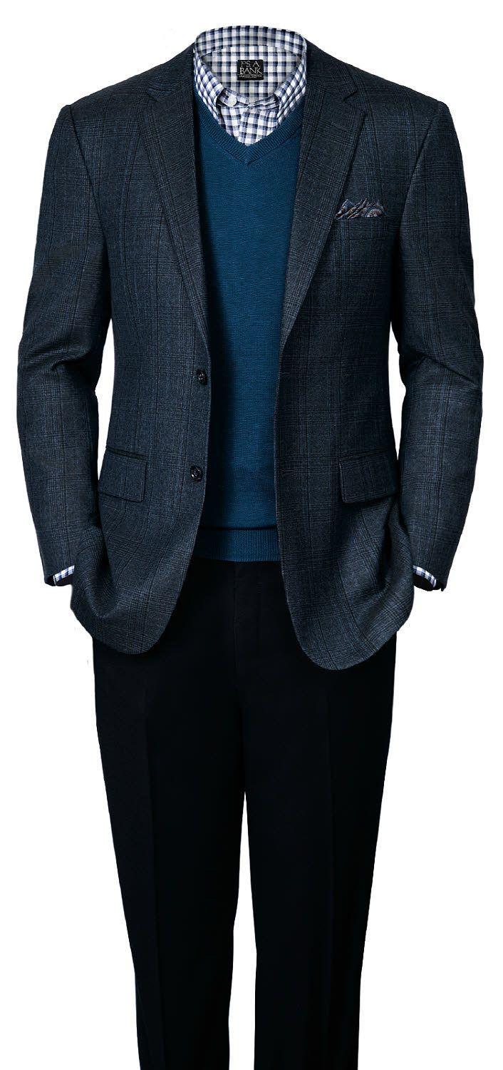 Business casual look for fall (Signature Tailored Fit Blue Glen Plaid  Sportcoat). 69d4dadcc01