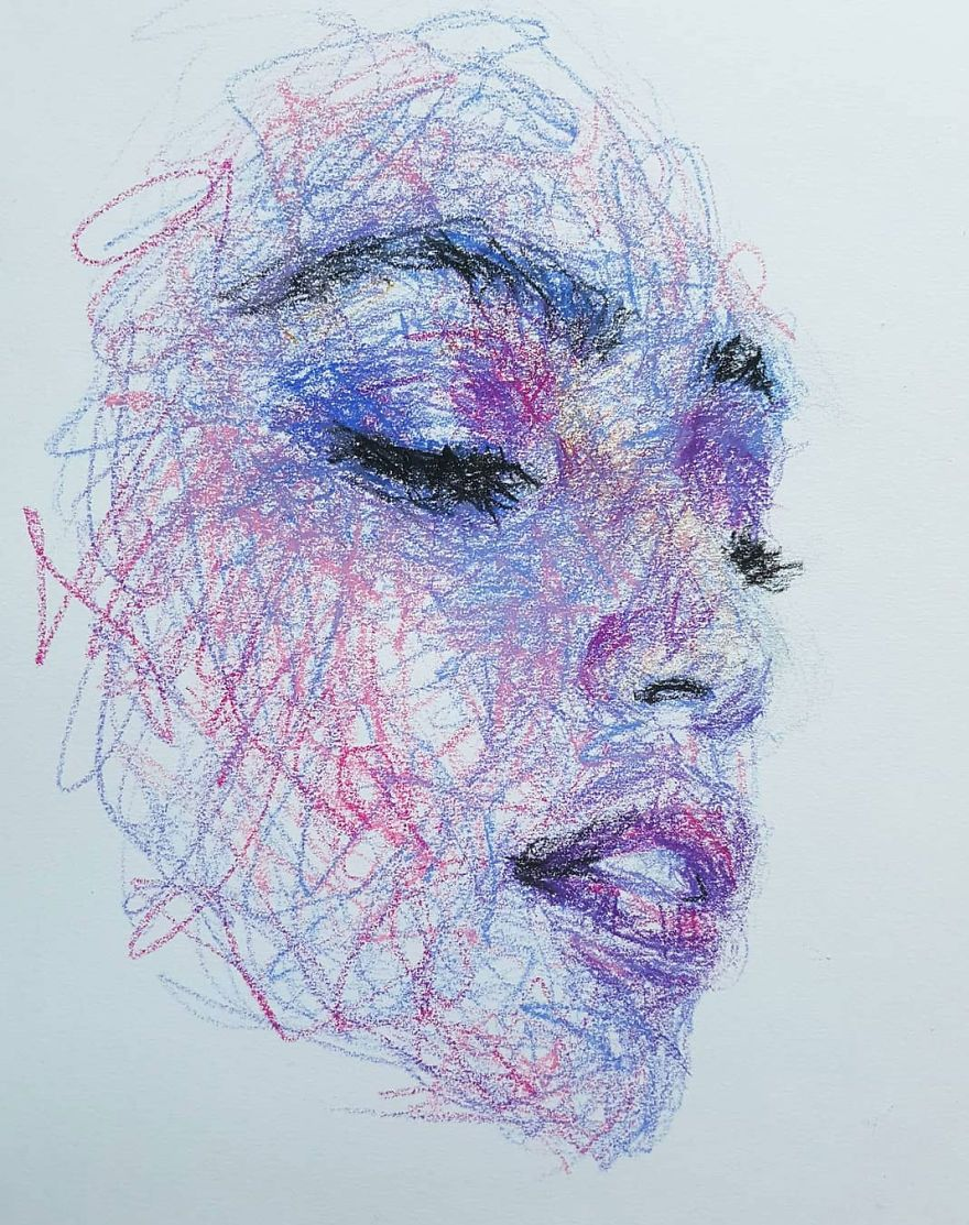This Self-Taught Artist Draws Female Portraits Entirely By Scribbling (87 Pics)